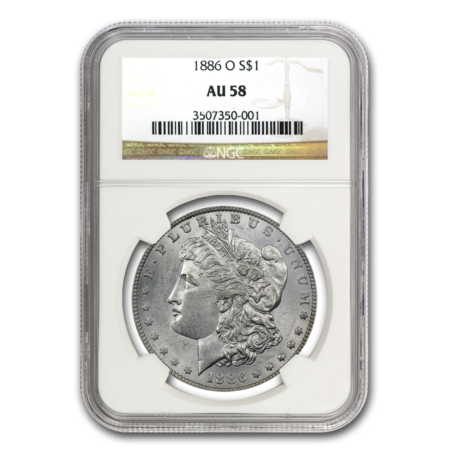 1886-O Morgan Dollar Almost Uncirculated-58 NGC